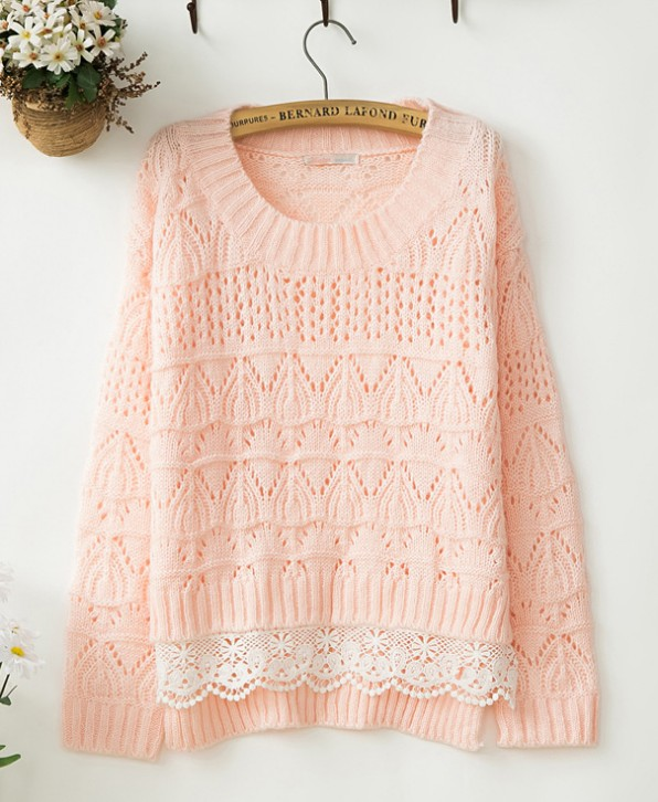 Sweet Lace Nice Pink Sweater on Luulla 3ff3a128d